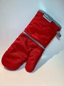 KitchenAid Pot Holder Oven Mitt Glove - Red Cotton Silicone