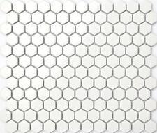 Ceramic Mosaic Wall & Floor Tiles White Hexagonal Gloss Bathroom Basin MT0089