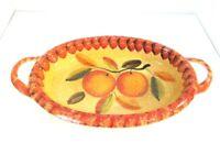 "ITALICA ARS Hand Painted Italian Pottery Lg 13"" CASSEROLE Dish w/Handles"