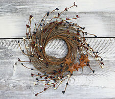 """Pip Berry & Rusty Star Small Wreath/Candle Ring, 12"""" - Patriotic Mix"""