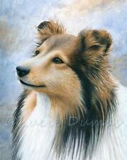 ACEO art print Dog 122 Collie Sheltie Sheepdog from painting by L.Dumas