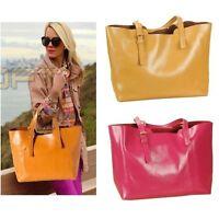 Genuine Leather Classic Women Tote Shoulder bag Handbag Shopper Shopping Cabas