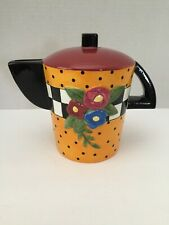 1995 Orange And Black Wide Mary Engelbreit Teapot Coin Piggy Bank