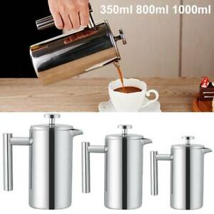 350/800/1000ml Cafetiere French Press Coffee Tea Filter Plunger Double Walled UK