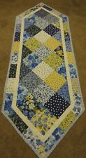 "Hand Made Quilted Table Runner/Topper~Blue, Yellow ~18 1/2"" x 53"" ~ 100% Cotton"