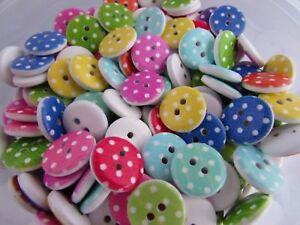15mm Wooden Spot Spotty Buttons in Packs of 20, 50 or 100 assorted colours