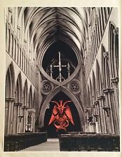 "Baphomet Wells Cathedral Satanic Worship Poster 30.5"" x 24"" Evil Art Hell church"