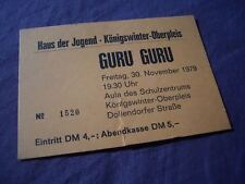 concert-ticket 1979 /// GURU GURU germany KRAUTROCK amon düül * can * sperrmüll