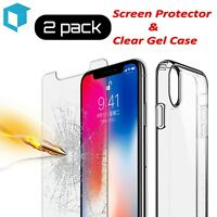 """iPhone XS MAX Clear Soft TPU Case + Tempered Glass Screen Protector 6.5"""""""