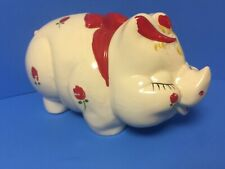 Hand Painted Roses American Bisque Pottery Vintage Pig Piggy Bank