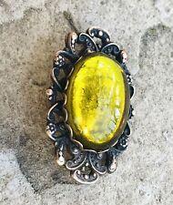 Vintage Artisan Yellow Amber Tone Cabachon Stone or Art Glass Ornate Brooch Pin