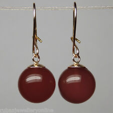10mm GENUINE CARNELIAN ROUND BEAD / BALL SOLID 9ct YELLOW GOLD DROP EARRINGS
