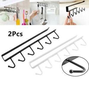 2PCS 6 Hooks Metal Under Shelf Mug Cup Cupboard Kitchen Organiser Hanging Rack