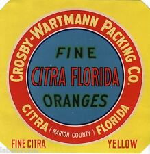 CRATE LABEL VINTAGE FLORIDA CITRA MARION COUNTY YELLOW 1940S ORIGINAL CROSBY