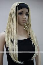 Light Blonde unique Long Man-made braids 3/4 half wig with headband FYTLG021