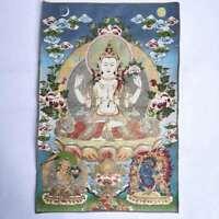 "36"" Tibet Tibetan Cloth Silk Buddhism 4 Arm Guanyin Kwan-yin Tangka Thangka #14"