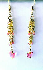 Butterfly Dangle Earrings. 3 3/4 Inches. Gold Plated Chain with Pink Crystal