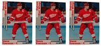 (3) 1992 SCD #22 Steve Yzerman Hockey Card Lot Detroit Red Wings