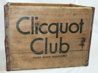 Clicquot Club Wooden Soda Box Crate Holds 1 Dozen Qt Bottles Kleek-o Eskimo Boy