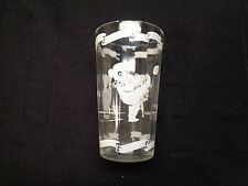 Vintage BOSCO Chocolate Syrup BEAR GLASS TUMBLER WHITE GRAPHICS 5 3/4 inch