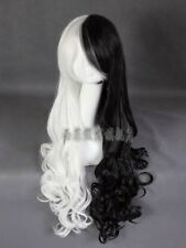 monokuma Long curly heat resistant black and white color mixture cosplay wig