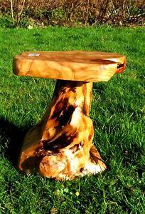 Rustic cedar tree root wooden stool