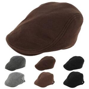 Chapeau Pr homme Baker Beret Flat Caps Plain Black Vintage Cotton Classic SH
