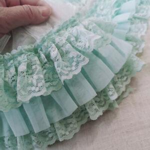 50CM 3 Lagen Chiffon Spitzenbesatz Plissee Band Stoff Kleid Nähen 4.33'' Breite