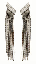 CLIP ON EARRINGS - gunmetal grey earring with crystals & linked strands - Cal GM