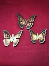 Vintage Homco Home Interiors Brass Gold Butterflies Wall Accents Decor Metal