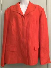 Jones New York Red Orange Blazer Jacket Plus Size 22w Ribb Texture 3 Button Pkts