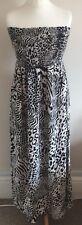 Tu Size 12 Ladies Strapless Cream & Black Animal Print Maxi Dress, Summer Sun