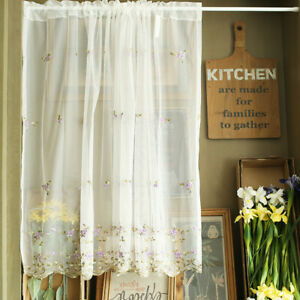 Floral Lace Sheer Kitchen Cabinet Door Curtain Rod Pocket Valance Window Curtain