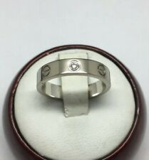 Cartier 18K White Gold 1 Diamond Love Ring Size 5.75