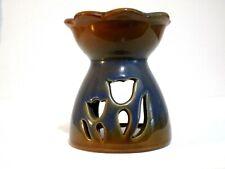 "Ceramic Wax Tart Warmer Tea Light Blue Brown Tulip Design 4x3.5"""