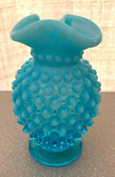 FENTON BLUE OPALESCENT OPAL HOBNAIL MINI RUFFLE TOPPED BUD VASE MINT ESTATE SALE
