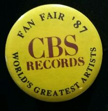CBS RECORDS FAN FAIR '87 WORLD'S GREATEST ARTISTS COLLECTIBLE BUTTON/PIN