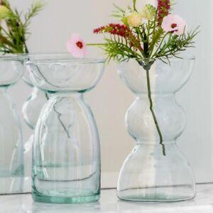 Eco Round Clear Glass Hyacinth Bulb Vase, Petite Stem Bud Bottle Vases, 2 Design