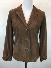 S28 Ralph Lauren Women Sz 4 Suede Brown Buttoned Jacket