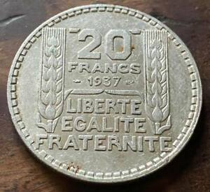 20 FRANCS . TURIN .  ( ARGENT ) . 1937  . ( voir photos recto-verso )