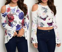Sexy Floral Open Cut-Out Cold Shoulder Long Wide Flare Bell Sleeve Crop Top S-XL