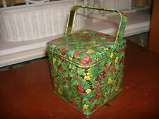 Vtg Dept 56 Heirloom Christmas Gift Tin w/ Handle Square Can Xmas Holly Berries