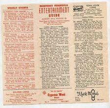 Vintage Brochure Entertainment Guide Movies Restaurant Monterey CA 1960s