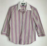 Lauren Ralph Lauren Womens Petite M Blouse Striped Button Down Shirt 3/4 Sleeve