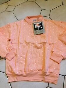 Vintage But New With Tags Sweatshirt Style Top Size 12/14 Peach White Spot