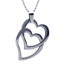 Stainless Steel Double Heart Pendant / Charm, Free Bead Ball Chain