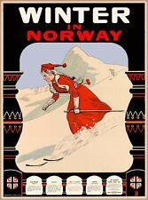 Winter in Norway Ski Skiing Europe European Scandinavia Travel Art Poster Print