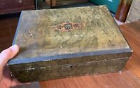 Antique Grained Painted Marbleized Wood Box