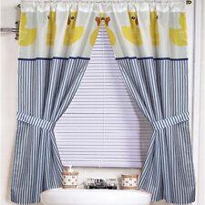 "Fabric Bathroom Window Curtain Set Rubber Ducky w/ Holdbacks 34""x54"""