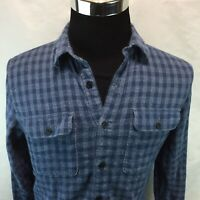 Mens Lucky Brand Saturday Stretch L/S Flannel Shirt Blue Plaid Button Small A21